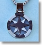 Stainless Steel Silver and Black Compass Rose Pendant with Chain